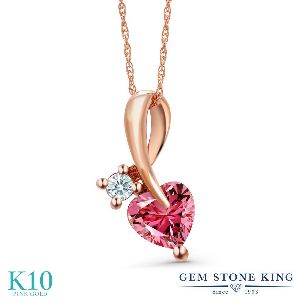 Gem Stone King 0.85カラット スワロフスキージルコニア (ファンシーピンク) 10金 ピンクゴールド(K10) ネックレス ペンダント レディース CZ シンプル 金属アレルギー対応 誕生日プレゼント