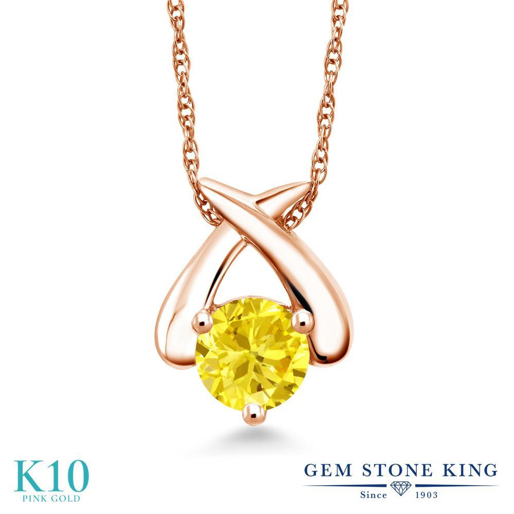 Gem Stone King ジルコニア (イエロー) 10金 ピンクゴールド(K10) ネックレス ペンダント レディース CZ 大粒 一粒 シンプル 金属アレルギー対応 誕生日プレゼント
