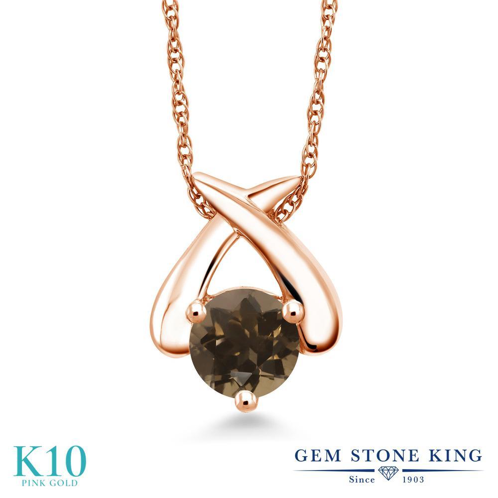 Gem Stone King 0.8カラット 天然 スモーキークォーツ (ブラウン) 10金 ピンクゴールド(K10) ネックレス ペンダント レディース 一粒 シンプル 天然石 金属アレルギー対応 誕生日プレゼント