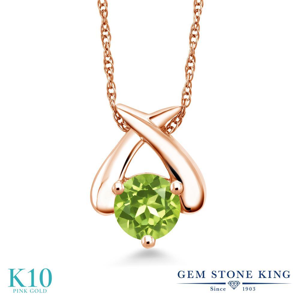 Gem Stone King 1カラット 天然石 ペリドット 10金 ピンクゴールド(K10) ネックレス ペンダント レディース 大粒 一粒 シンプル 天然石 8月 誕生石 金属アレルギー対応 誕生日プレゼント