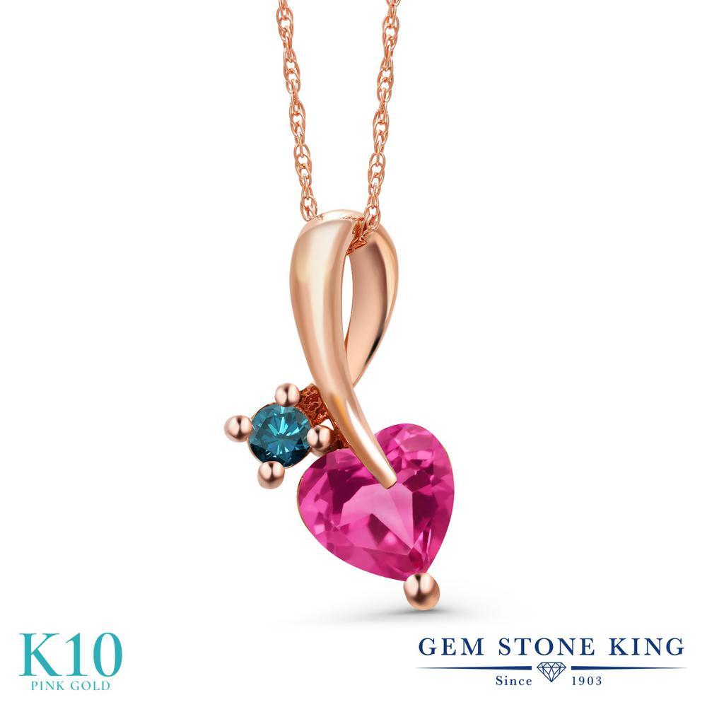 Gem Stone King 0.9カラット 合成ピンクサファイア 天然 ブルーダイヤモンド 10金 ピンクゴールド(K10) ネックレス ペンダント レディース シンプル 金属アレルギー対応 誕生日プレゼント
