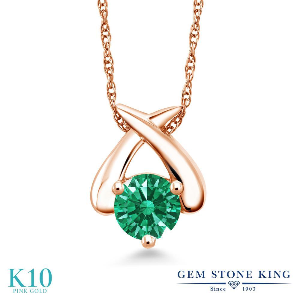 Gem Stone King スワロフスキージルコニア (グリーン) 10金 ピンクゴールド(K10) ネックレス ペンダント レディース CZ 一粒 シンプル 金属アレルギー対応 誕生日プレゼント