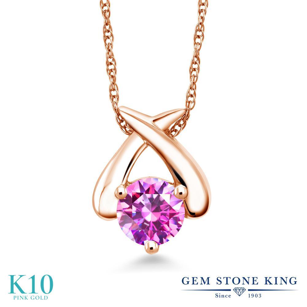 Gem Stone King スワロフスキージルコニア (ファンシーパープル) 10金 ピンクゴールド(K10) ネックレス ペンダント レディース CZ 一粒 シンプル 金属アレルギー対応 誕生日プレゼント