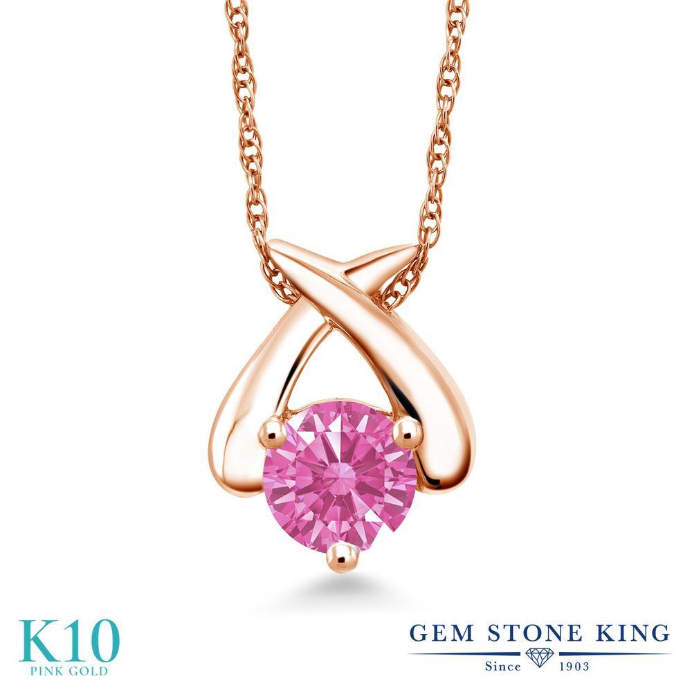 Gem Stone King スワロフスキージルコニア (ピンク) 10金 ピンクゴールド(K10) ネックレス ペンダント レディース CZ 一粒 シンプル 金属アレルギー対応 誕生日プレゼント