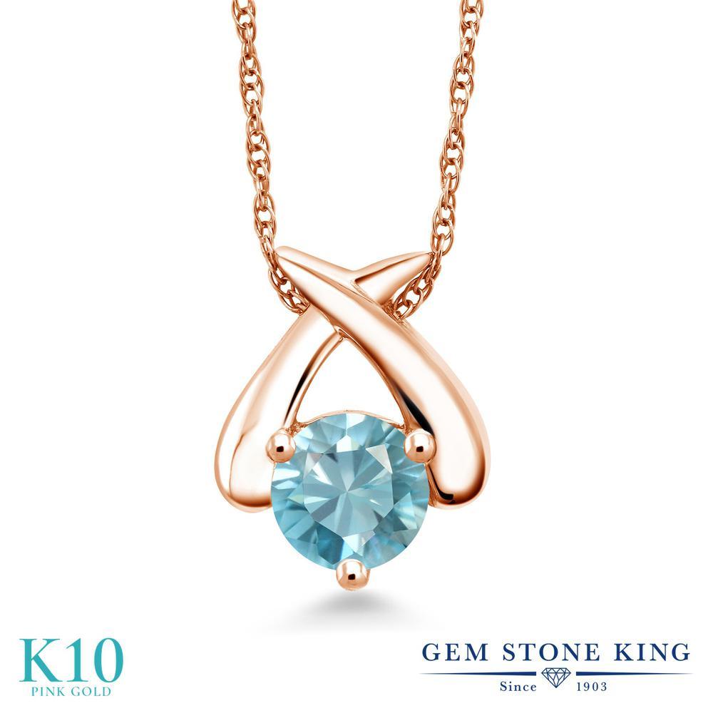 Gem Stone King 1.2カラット 天然石 ブルージルコン 10金 ピンクゴールド(K10) ネックレス ペンダント レディース 大粒 一粒 シンプル 天然石 12月 誕生石 金属アレルギー対応 誕生日プレゼント