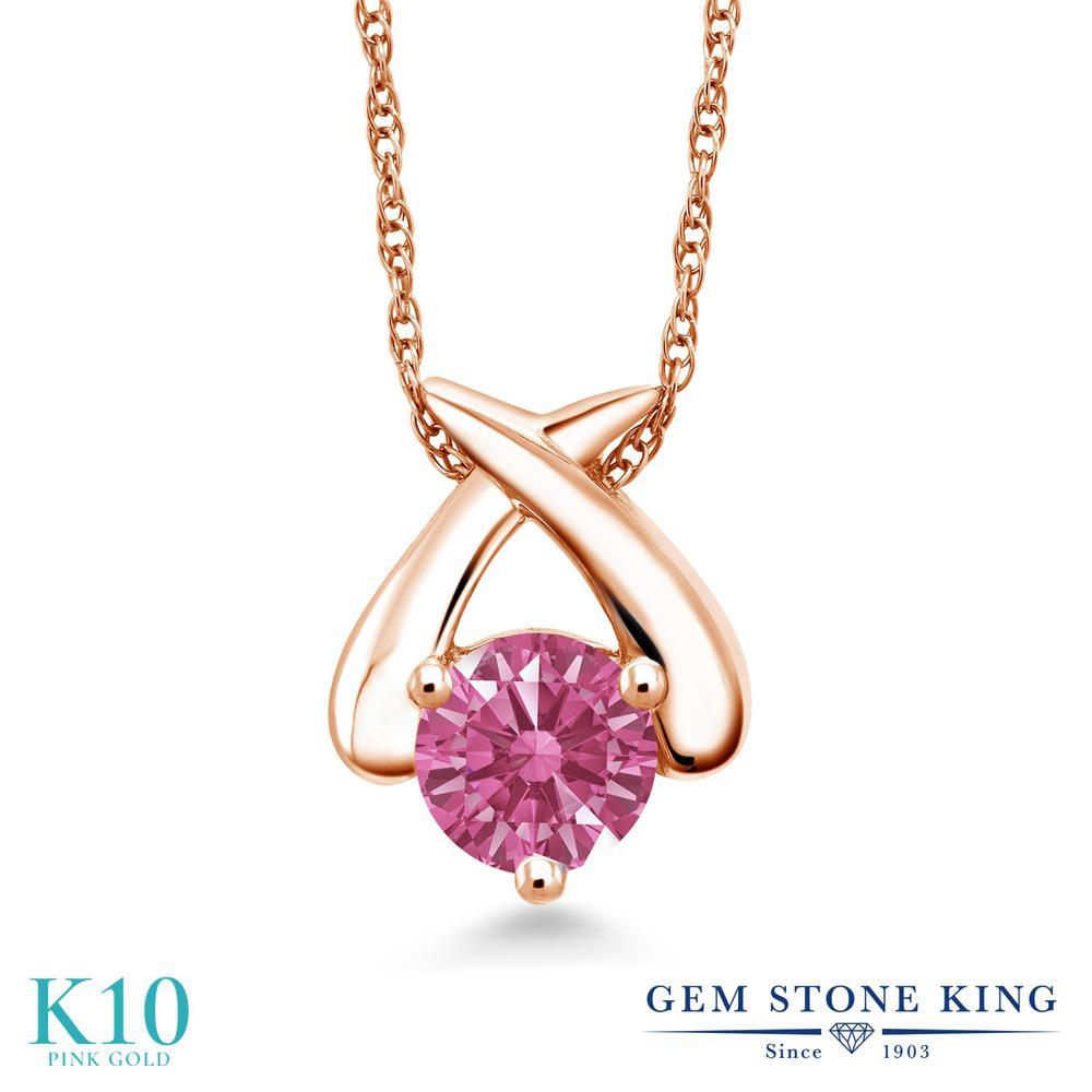 Gem Stone King スワロフスキージルコニア (レッド) 10金 ピンクゴールド(K10) ネックレス ペンダント レディース CZ 一粒 シンプル 金属アレルギー対応 誕生日プレゼント