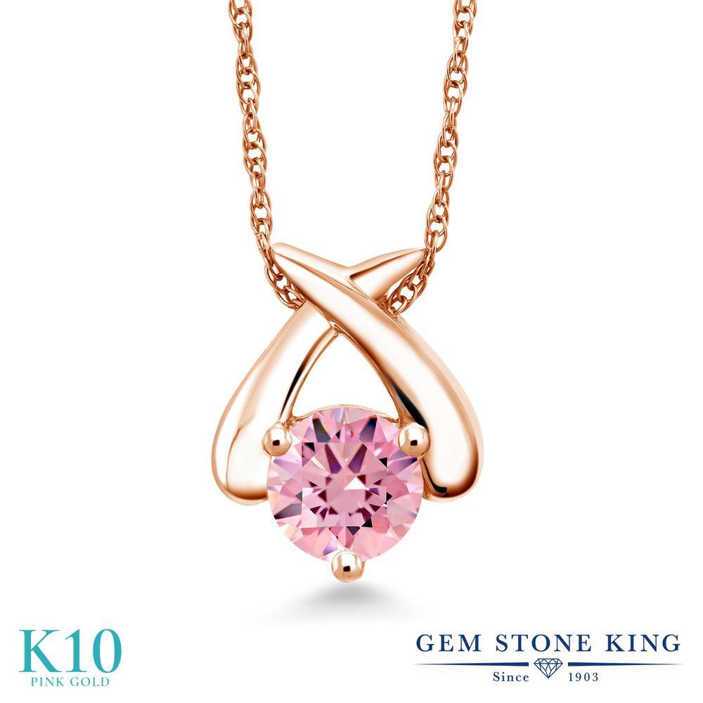 Gem Stone King ジルコニア (ピンク) 10金 ピンクゴールド(K10) ネックレス ペンダント レディース CZ 大粒 一粒 シンプル 金属アレルギー対応 誕生日プレゼント