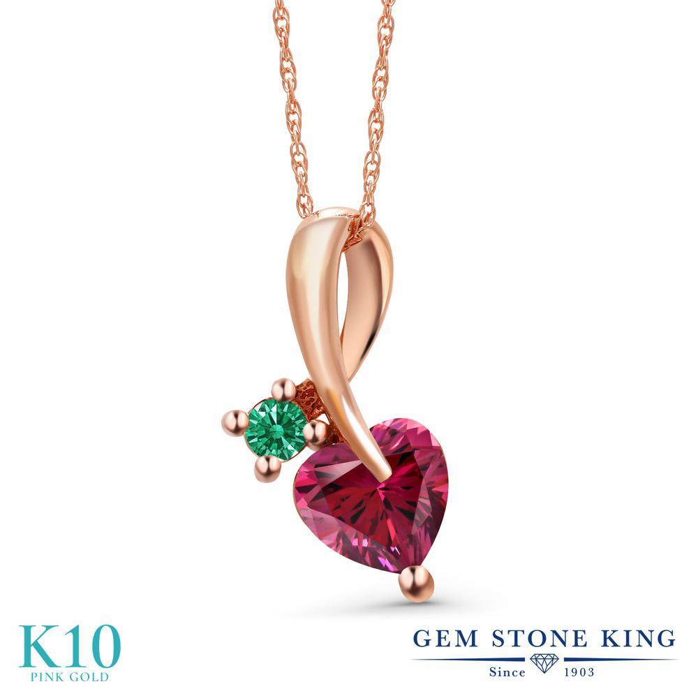 Gem Stone King 0.85カラット スワロフスキージルコニア (レッド) 10金 ピンクゴールド(K10) ネックレス ペンダント レディース CZ シンプル 金属アレルギー対応 誕生日プレゼント