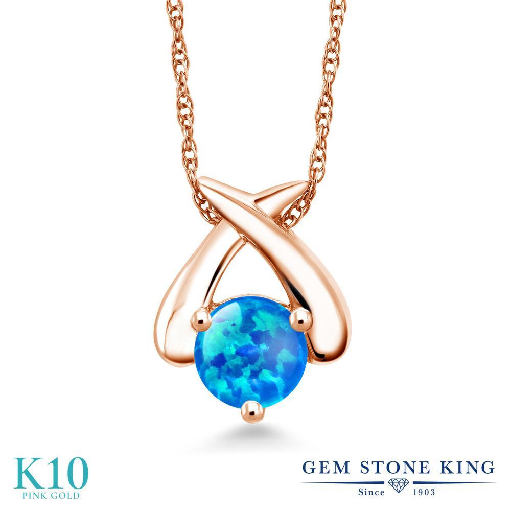 Gem Stone King 0.75カラット シミュレイテッド ブルーオパール 10金 ピンクゴールド(K10) ネックレス ペンダント レディース 一粒 シンプル 10月 誕生石 金属アレルギー対応 誕生日プレゼント