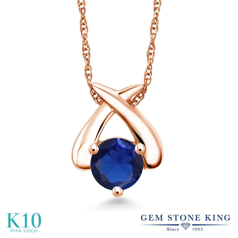 Gem Stone King 1カラット シミュレイテッド サファイア 10金 ピンクゴールド(K10) ネックレス ペンダント レディース 大粒 一粒 シンプル 金属アレルギー対応 誕生日プレゼント