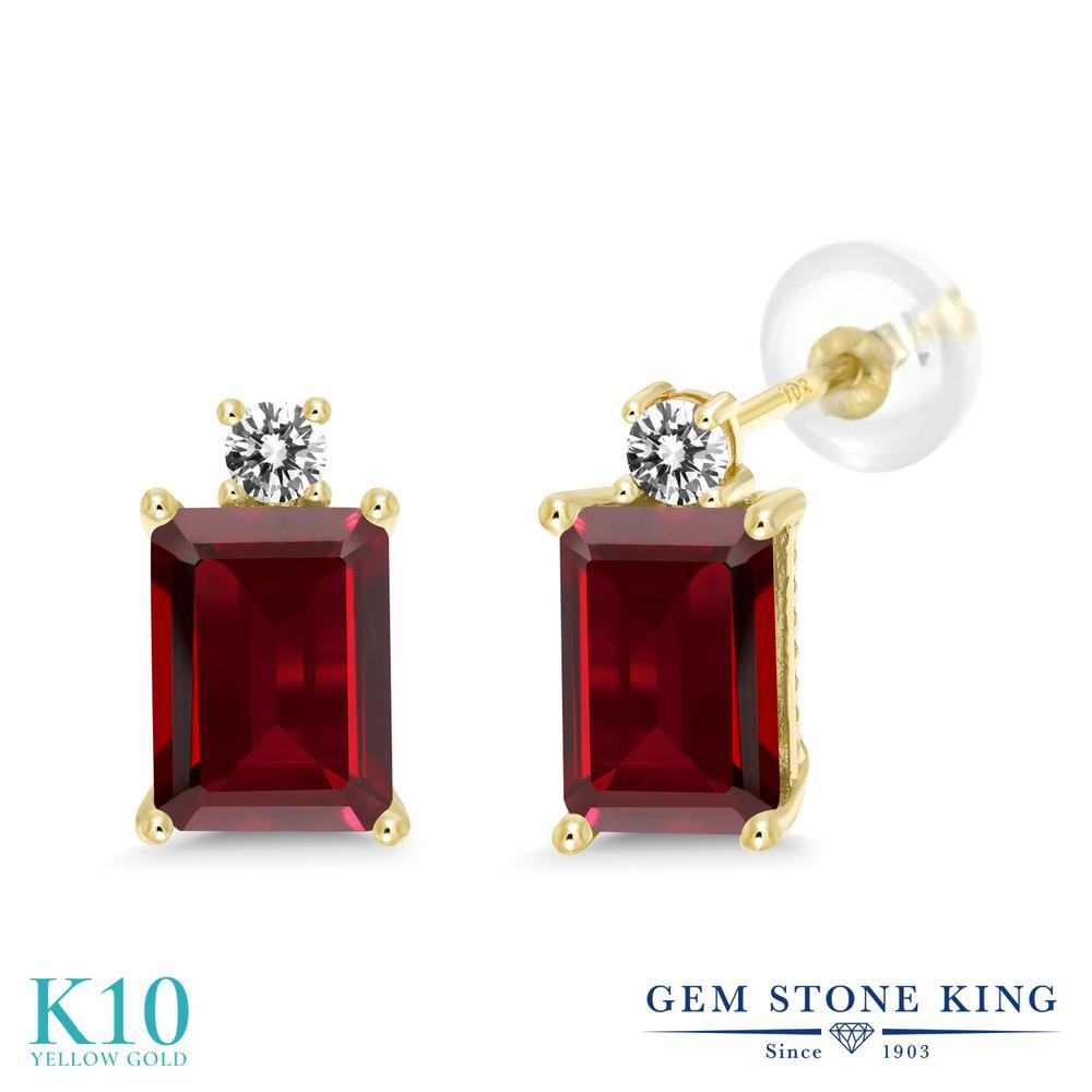 Gem Stone King 4.03カラット 天然 ガーネット 天然 ダイヤモンド 10金 イエローゴールド(K10) ピアス レディース 大粒 スタッド 天然石 1月 誕生石 金属アレルギー対応 誕生日プレゼント