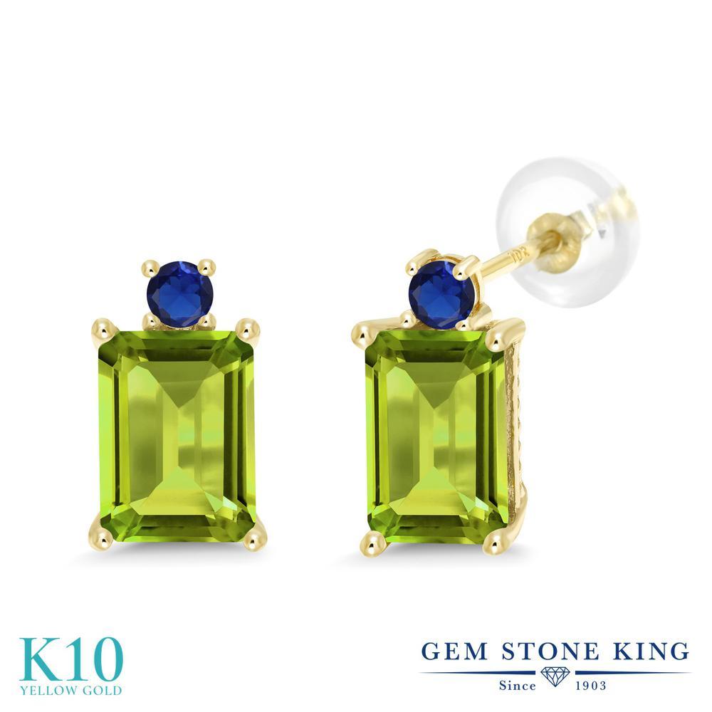 Gem Stone King 3.46カラット 天然石 ペリドット 10金 イエローゴールド(K10) ピアス レディース 大粒 スタッド 天然石 8月 誕生石 金属アレルギー対応 誕生日プレゼント