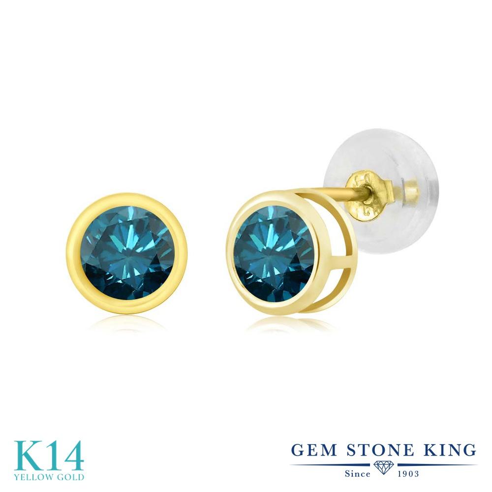 0.54カラット 天然 ブルーダイヤモンド ピアス レディース 14金 イエローゴールド K14 ブランド おしゃれ 一粒 ベゼル ブルー ダイヤ 青 小粒 シンプル スタッド 天然石 4月 誕生石 金属アレルギー対応