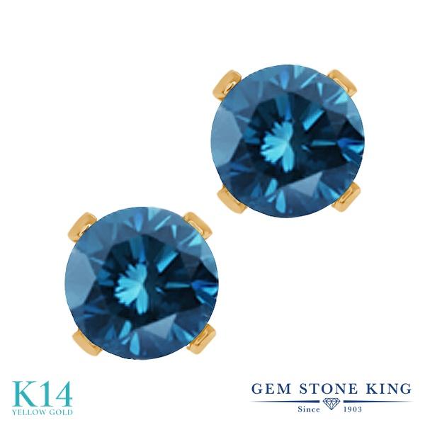 0.54カラット 天然 ブルーダイヤモンド ピアス レディース 14金 イエローゴールド K14 ブルー ダイヤ シンプル スタッド 天然石 4月 誕生石 金属アレルギー対応