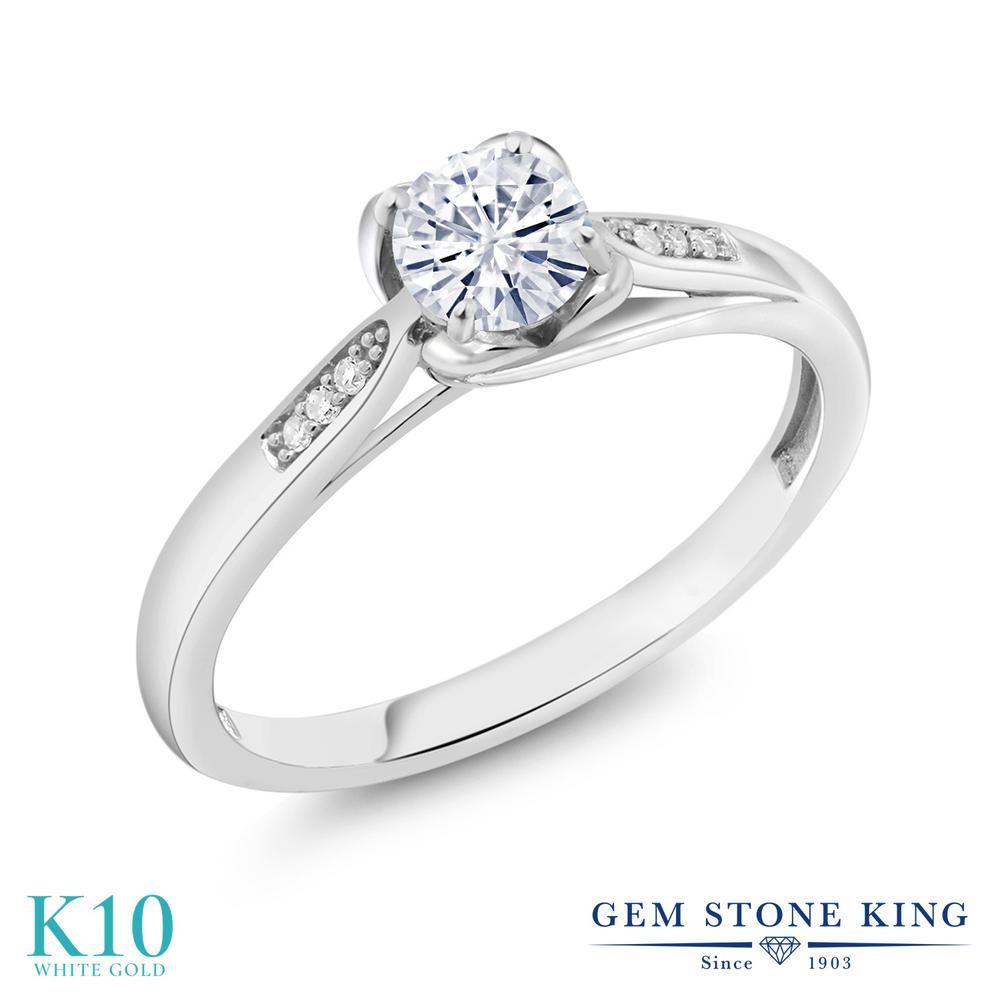 Gem Stone King 0.54カラット Forever Classic モアサナイト Charles & Colvard 天然 ダイヤモンド 10金 ホワイトゴールド(K10) 指輪 リング レディース モアッサナイト 小粒 マルチストーン 金属アレルギー対応 誕生日プレゼント