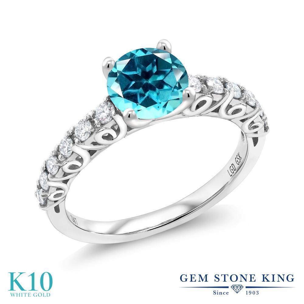Gem Stone King 1.9カラット 天然石トパーズ パライバ (スワロフスキー 天然石シリーズ) 10金 ホワイトゴールド(K10) 指輪 リング レディース 大粒 天然石 金属アレルギー対応 誕生日プレゼント