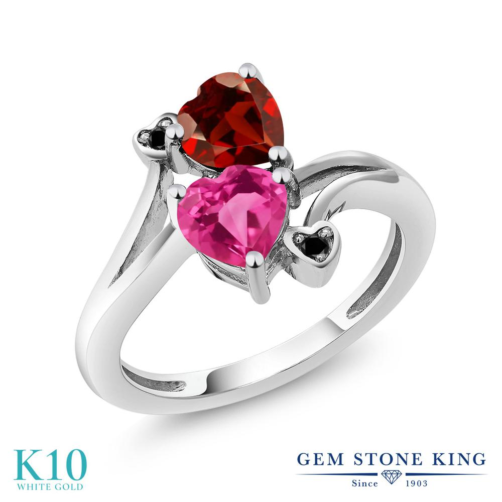 【10%OFF】 Gem Stone King 1.73カラット 合成ピンクサファイア 天然 ガーネット ブラックダイヤモンド 指輪 リング レディース 10金 ホワイトゴールド K10 ダブルストーン クリスマスプレゼント 女性 彼女 妻 誕生日