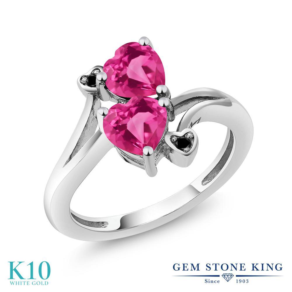 Gem Stone King 1.63カラット 合成ピンクサファイア 天然ブラックダイヤモンド 10金 ホワイトゴールド(K10) 指輪 リング レディース ダブルストーン 金属アレルギー対応 誕生日プレゼント