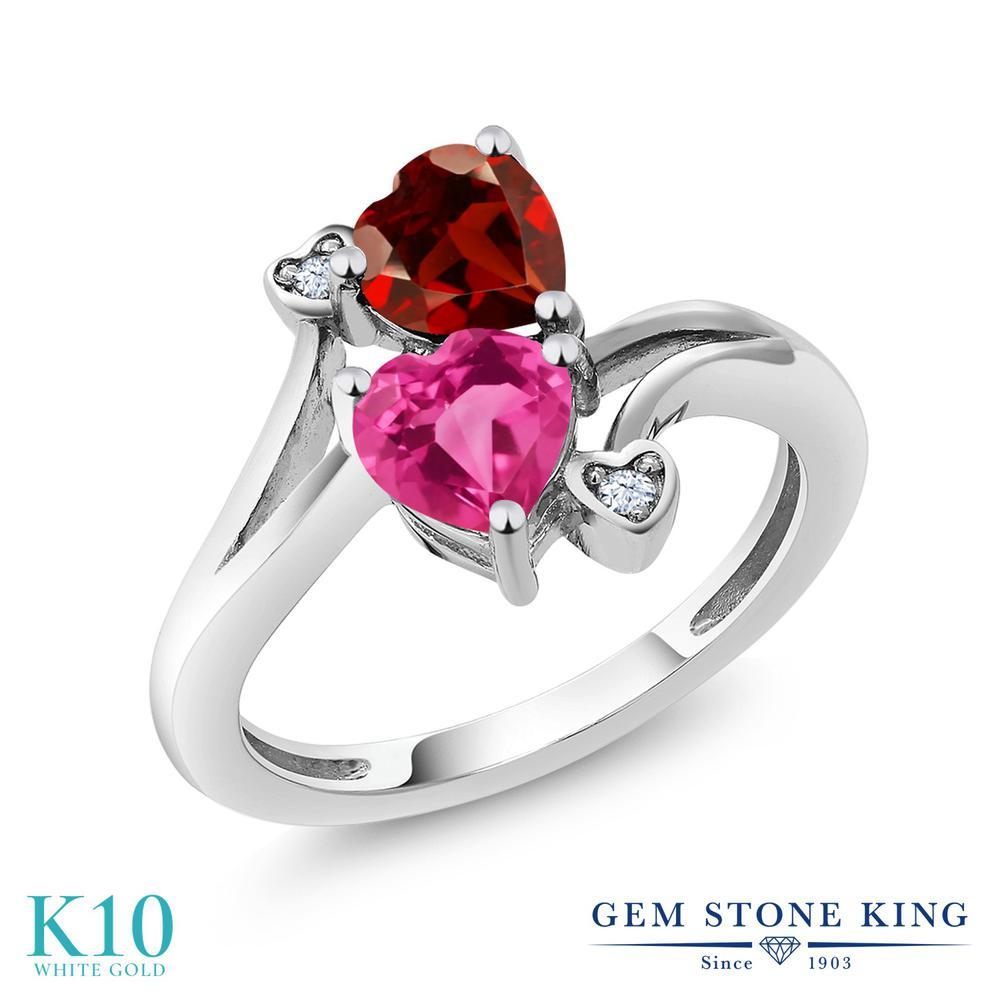 Gem Stone King 1.73カラット 合成ピンクサファイア 天然 ガーネット 10金 ホワイトゴールド(K10) 指輪 リング レディース ダブルストーン 金属アレルギー対応 誕生日プレゼント