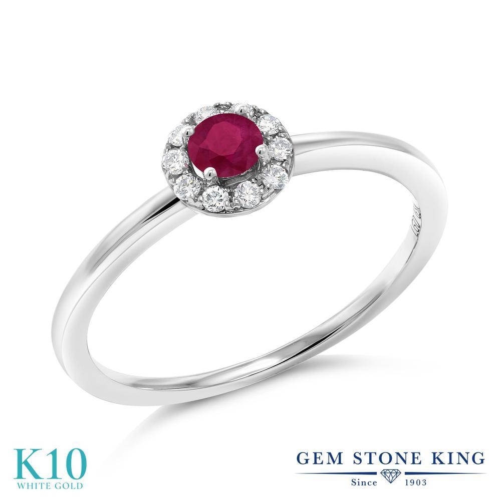 Gem Stone King 0.27カラット 天然 ルビー 合成ダイヤモンド 10金 ホワイトゴールド(K10) 指輪 リング レディース 小粒 天然石 7月 誕生石 金属アレルギー対応 誕生日プレゼント