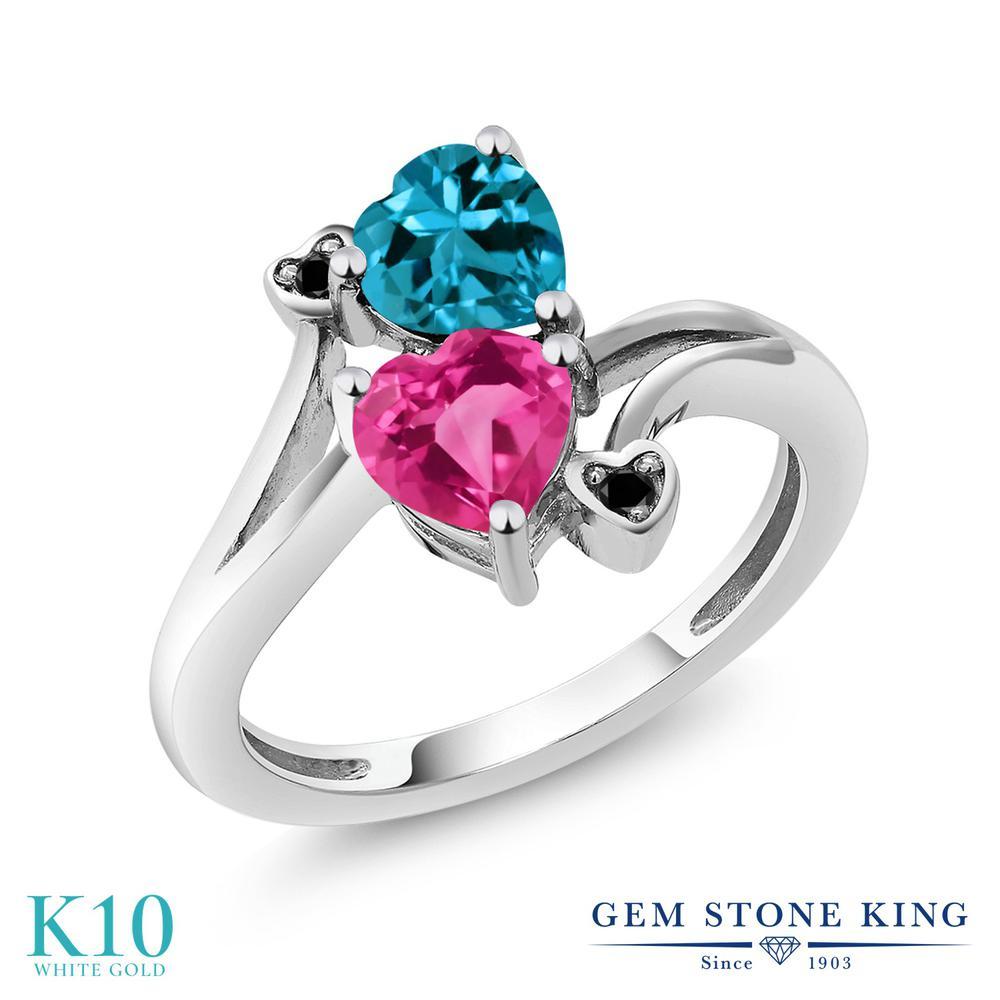 Gem Stone King 1.78カラット 合成ピンクサファイア 天然 ロンドンブルートパーズ 天然ブラックダイヤモンド 10金 ホワイトゴールド(K10) 指輪 リング レディース ダブルストーン 金属アレルギー対応 誕生日プレゼント