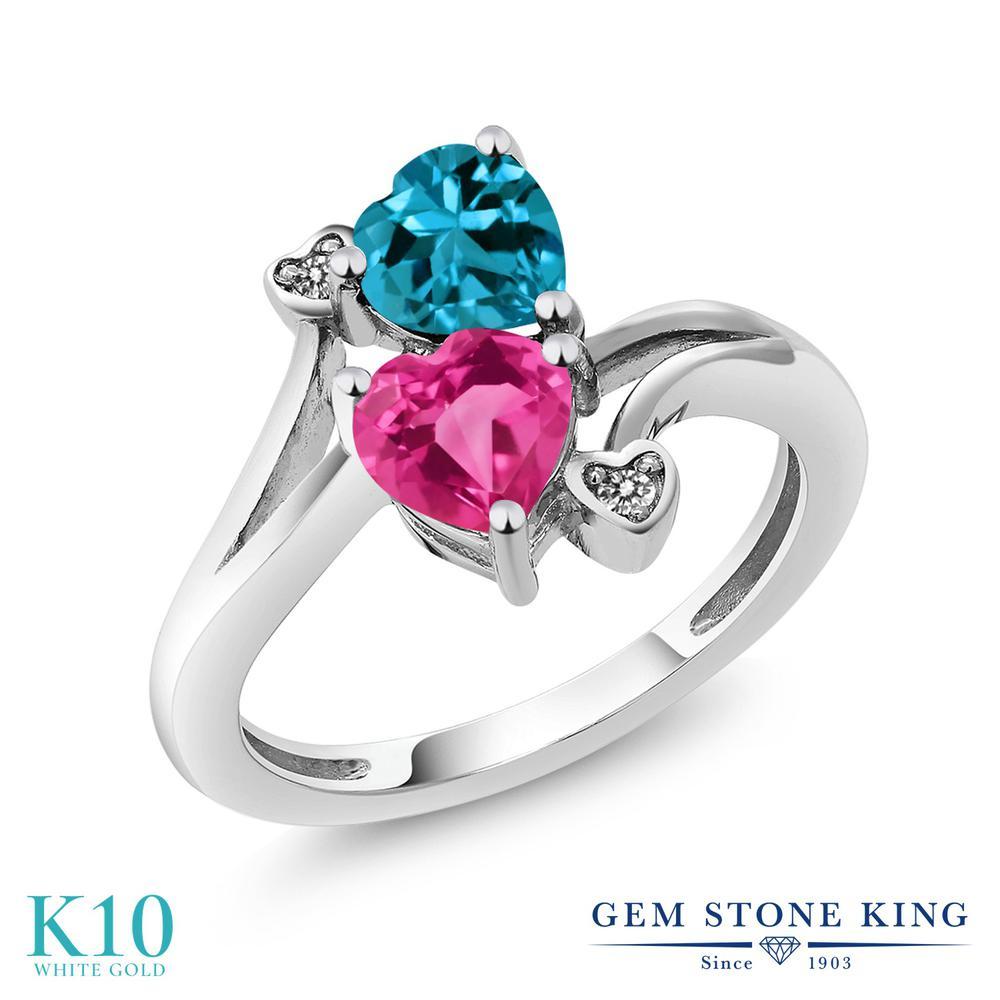 Gem Stone King 1.78カラット 合成ピンクサファイア 天然 ロンドンブルートパーズ 天然 ダイヤモンド 10金 ホワイトゴールド(K10) 指輪 リング レディース ダブルストーン 金属アレルギー対応 誕生日プレゼント