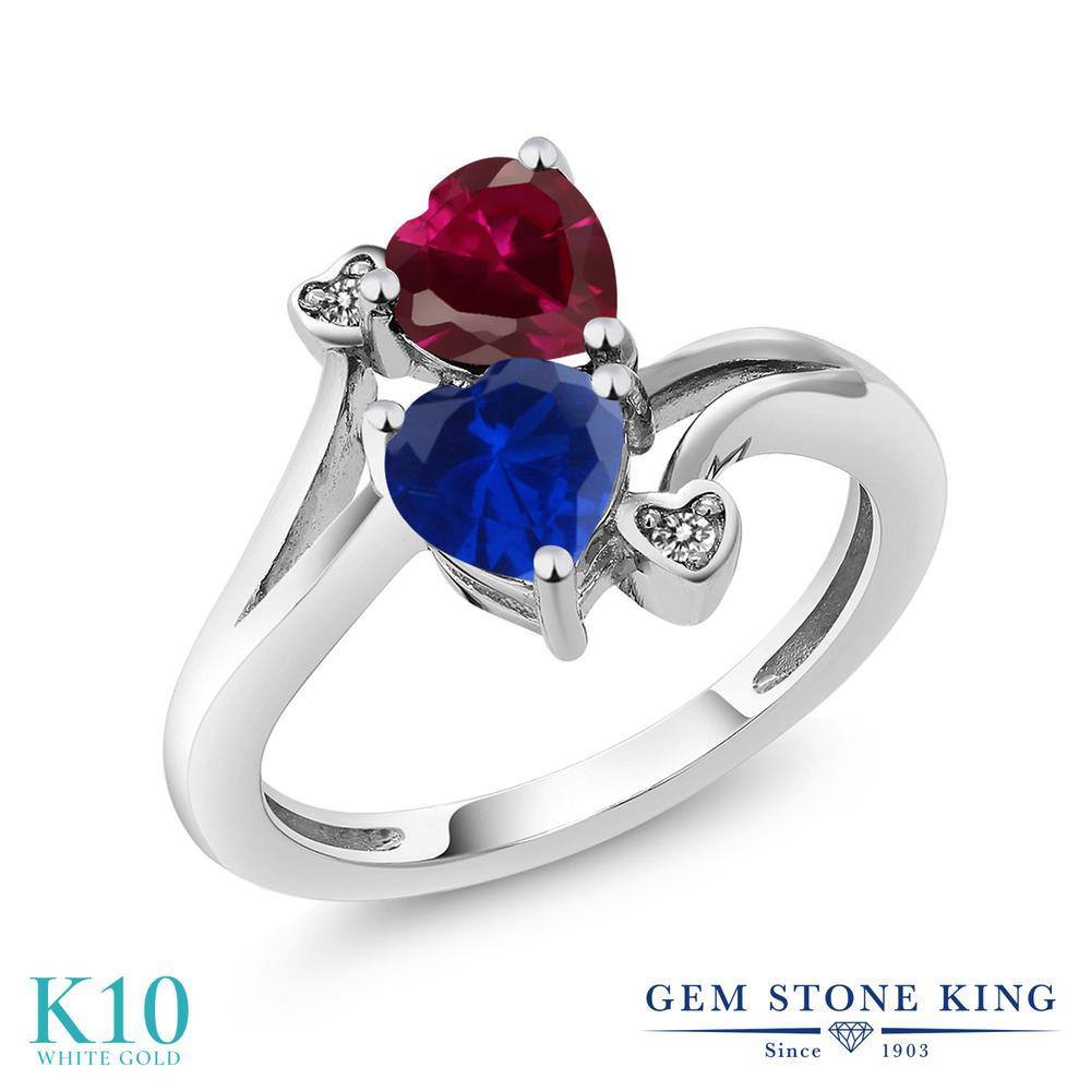 【10%OFF】 Gem Stone King 1.8カラット シミュレイテッド サファイア 合成ルビー 天然 ダイヤモンド 指輪 リング レディース 10金 ホワイトゴールド K10 ダブルストーン クリスマスプレゼント 女性 彼女 妻 誕生日