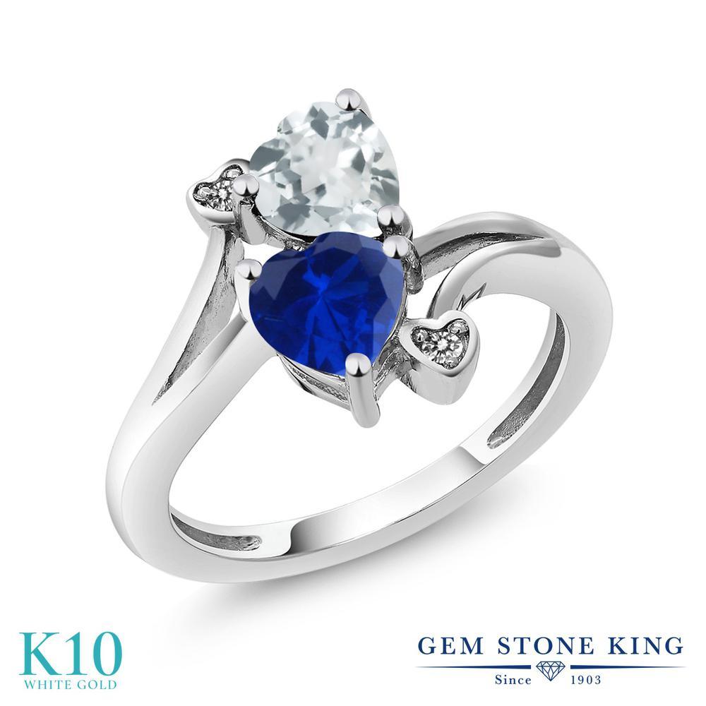 Gem Stone King 1.5カラット シミュレイテッド サファイア 天然 アクアマリン 天然 ダイヤモンド 10金 ホワイトゴールド(K10) 指輪 リング レディース ダブルストーン 金属アレルギー対応 誕生日プレゼント