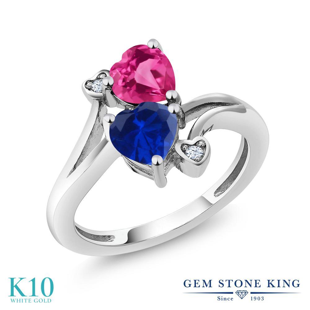 Gem Stone King 1.63カラット シミュレイテッド サファイア 合成ピンクサファイア 10金 ホワイトゴールド(K10) 指輪 リング レディース ダブルストーン 金属アレルギー対応 誕生日プレゼント