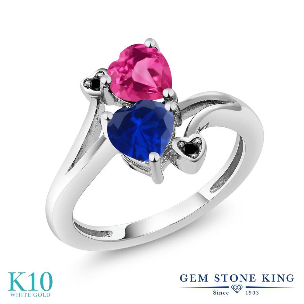 【10%OFF】 Gem Stone King 1.63カラット シミュレイテッド サファイア 合成ピンクサファイア ブラックダイヤモンド 指輪 リング レディース 10金 ホワイトゴールド K10 ダブルストーン クリスマスプレゼント 女性 彼女 妻 誕生日