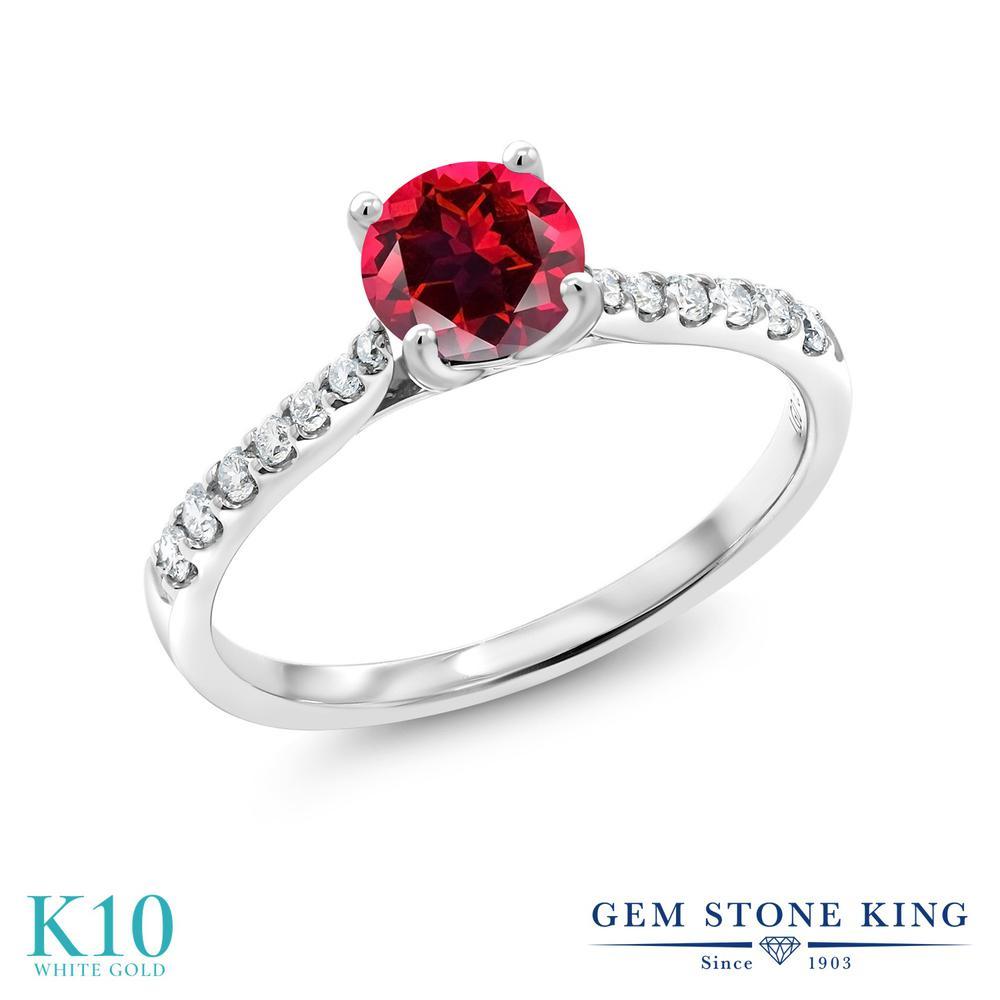 Gem Stone King 0.72カラット 天然石レッドトパーズ(スワロフスキー 天然石シリーズ) 10金 ホワイトゴールド(K10) 指輪 リング レディース 天然石 誕生日プレゼント