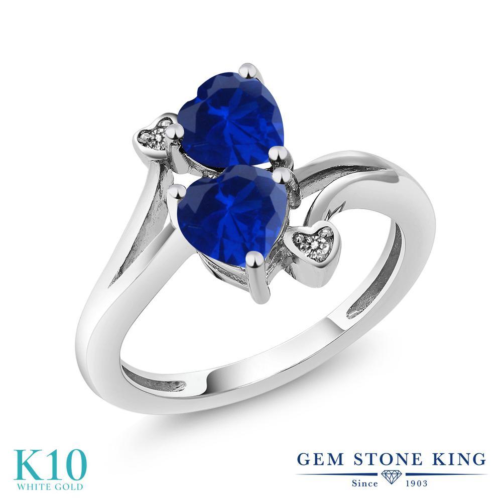 【10%OFF】 Gem Stone King 1.63カラット シミュレイテッド サファイア 天然 ダイヤモンド 指輪 リング レディース 10金 ホワイトゴールド K10 ダブルストーン クリスマスプレゼント 女性 彼女 妻 誕生日