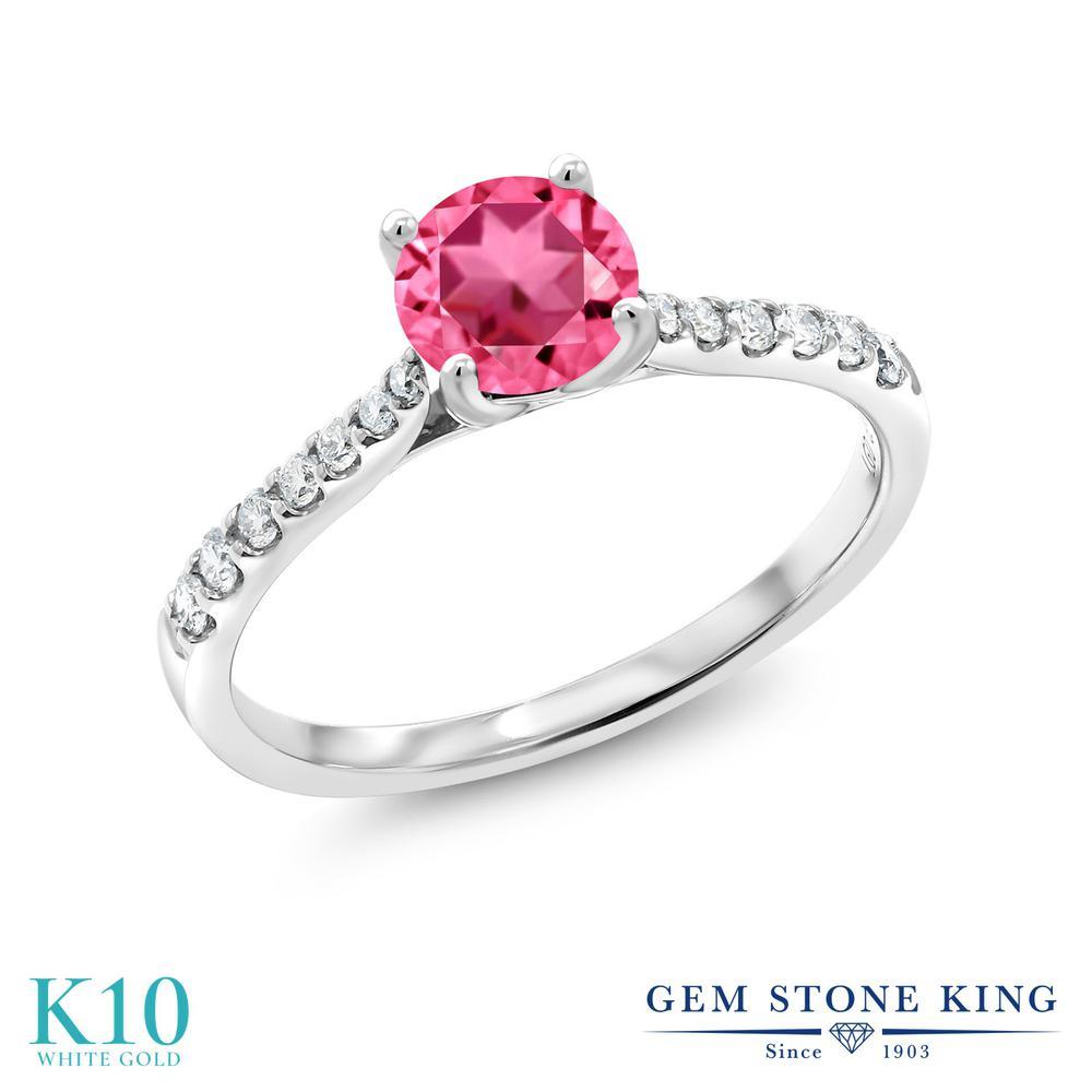 Gem Stone King 0.72カラット 天然石ピンクトパーズ(スワロフスキー 天然石シリーズ) 10金 ホワイトゴールド(K10) 指輪 リング レディース 天然石 誕生日プレゼント