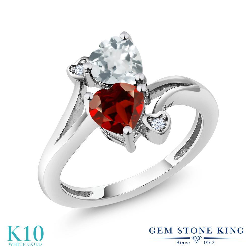 【10%OFF】 Gem Stone King 1.6カラット 天然 ガーネット アクアマリン 指輪 リング レディース 10金 ホワイトゴールド K10 ダブルストーン 天然石 1月 誕生石 クリスマスプレゼント 女性 彼女 妻 誕生日