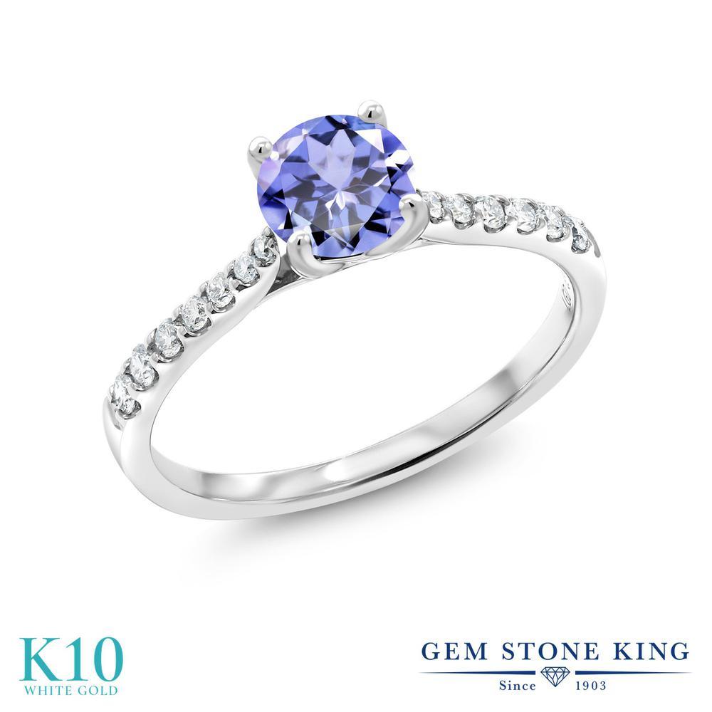 Gem Stone King 0.53カラット 天然石 タンザナイト 10金 ホワイトゴールド(K10) 指輪 リング レディース 小粒 天然石 誕生石 誕生日プレゼント