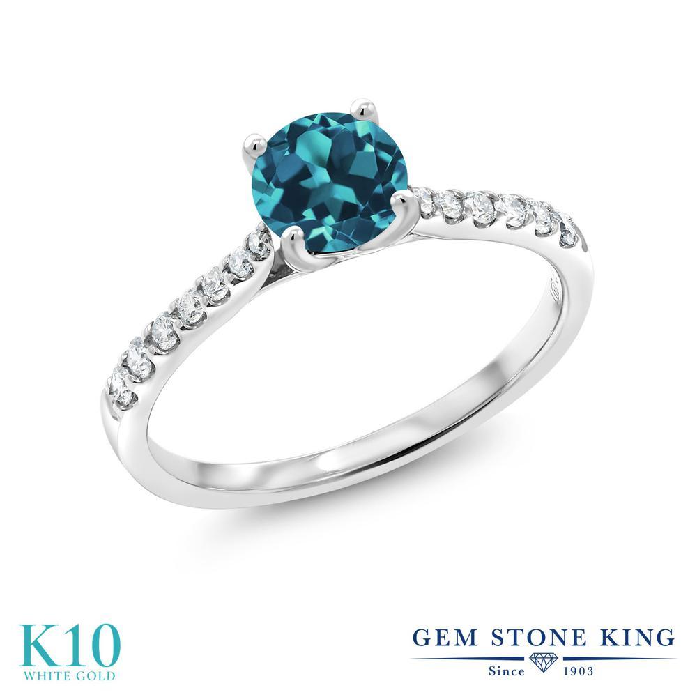 Gem Stone King 0.72カラット 天然トパーズ(ロンドンブルー) 10金 ホワイトゴールド(K10) 指輪 リング レディース 天然石 誕生石 誕生日プレゼント