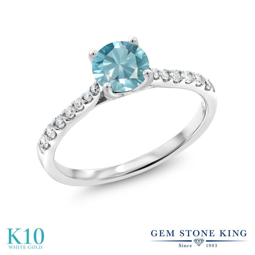 Gem Stone King 0.92カラット 天然石 ジルコン(ブルー) 10金 ホワイトゴールド(K10) 指輪 リング レディース 天然石 誕生日プレゼント
