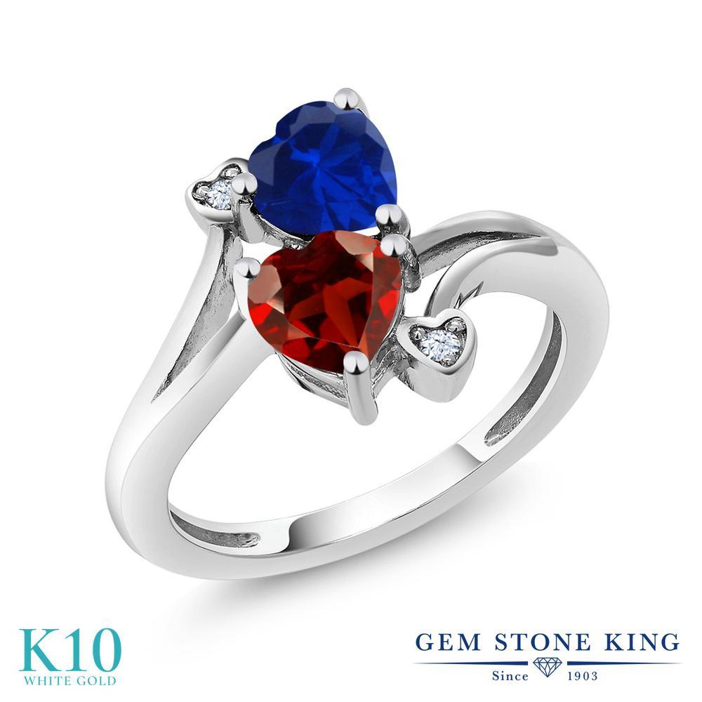 【10%OFF】 Gem Stone King 1.73カラット 天然 ガーネット シミュレイテッド サファイア 指輪 リング レディース 10金 ホワイトゴールド K10 ダブルストーン 天然石 1月 誕生石 クリスマスプレゼント 女性 彼女 妻 誕生日