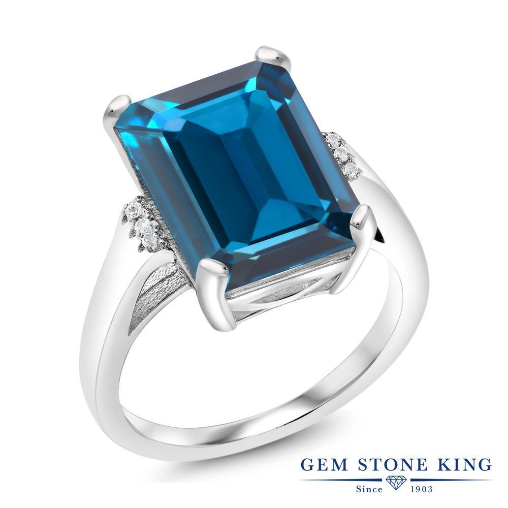 Gem Stone King 8.57カラット 天然 ロンドンブルートパーズ シルバー925 指輪 リング レディース 大粒 天然石 11月 誕生石 金属アレルギー対応 誕生日プレゼント