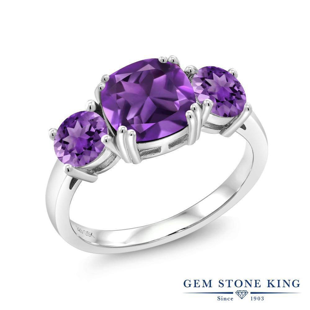 Gem Stone King 3カラット 天然 アメジスト 指輪 リング レディース シルバー925 アメシスト 大粒 シンプル スリーストーン 天然石 2月 誕生石 金属アレルギー対応