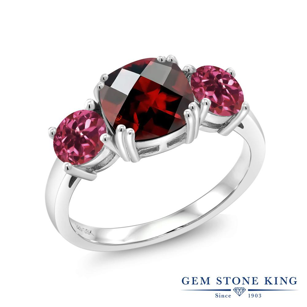 Gem Stone King 3.4カラット 天然 ガーネット 天然 ピンクトルマリン シルバー925 指輪 リング レディース 大粒 シンプル スリーストーン 天然石 1月 誕生石 金属アレルギー対応 誕生日プレゼント