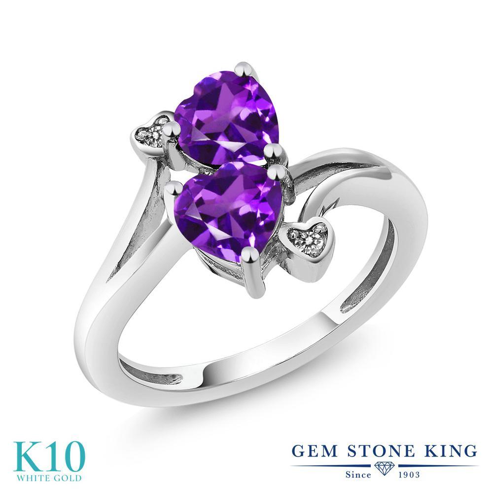 【10%OFF】 Gem Stone King 1.33カラット 天然 アメジスト ダイヤモンド 指輪 リング レディース 10金 ホワイトゴールド K10 アメシスト ダブルストーン 天然石 2月 誕生石 クリスマスプレゼント 女性 彼女 妻 誕生日