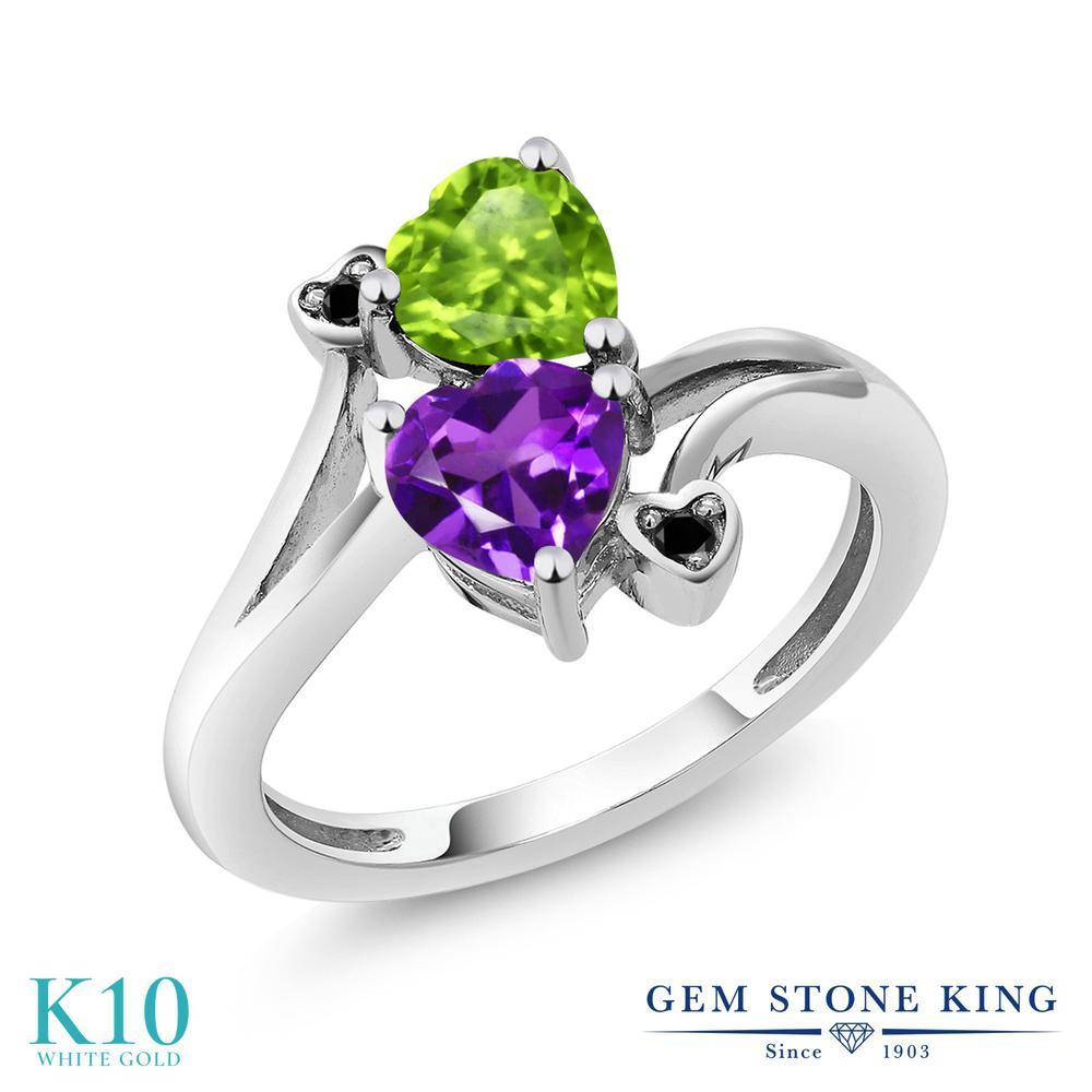 【10%OFF】 Gem Stone King 1.51カラット 天然 アメジスト 天然石 ペリドット ブラックダイヤモンド 指輪 リング レディース 10金 ホワイトゴールド K10 アメシスト ダブルストーン 2月 誕生石 クリスマスプレゼント 女性 彼女 妻 誕生日