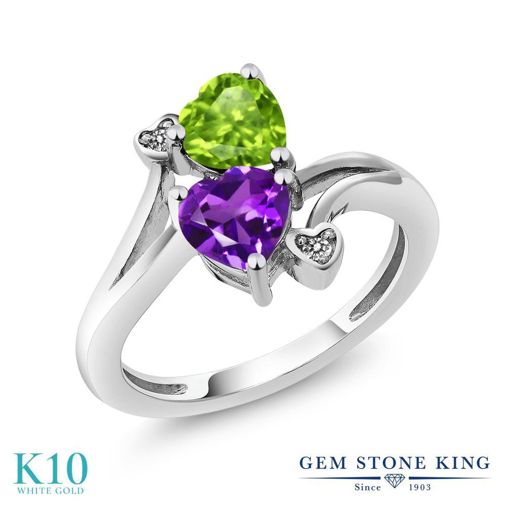 【10%OFF】 Gem Stone King 1.51カラット 天然 アメジスト 天然石 ペリドット ダイヤモンド 指輪 リング レディース 10金 ホワイトゴールド K10 アメシスト ダブルストーン 2月 誕生石 クリスマスプレゼント 女性 彼女 妻 誕生日