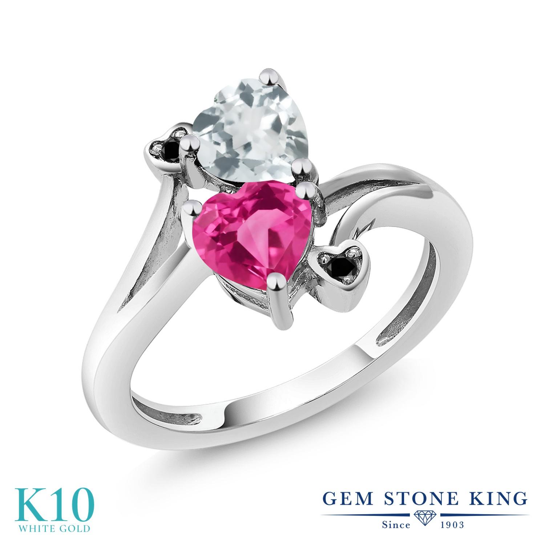 Gem Stone King 1.5カラット 天然 アクアマリン 合成ピンクサファイア 天然ブラックダイヤモンド 10金 ホワイトゴールド(K10) 指輪 リング レディース ダブルストーン 天然石 3月 誕生石 金属アレルギー対応 誕生日プレゼント