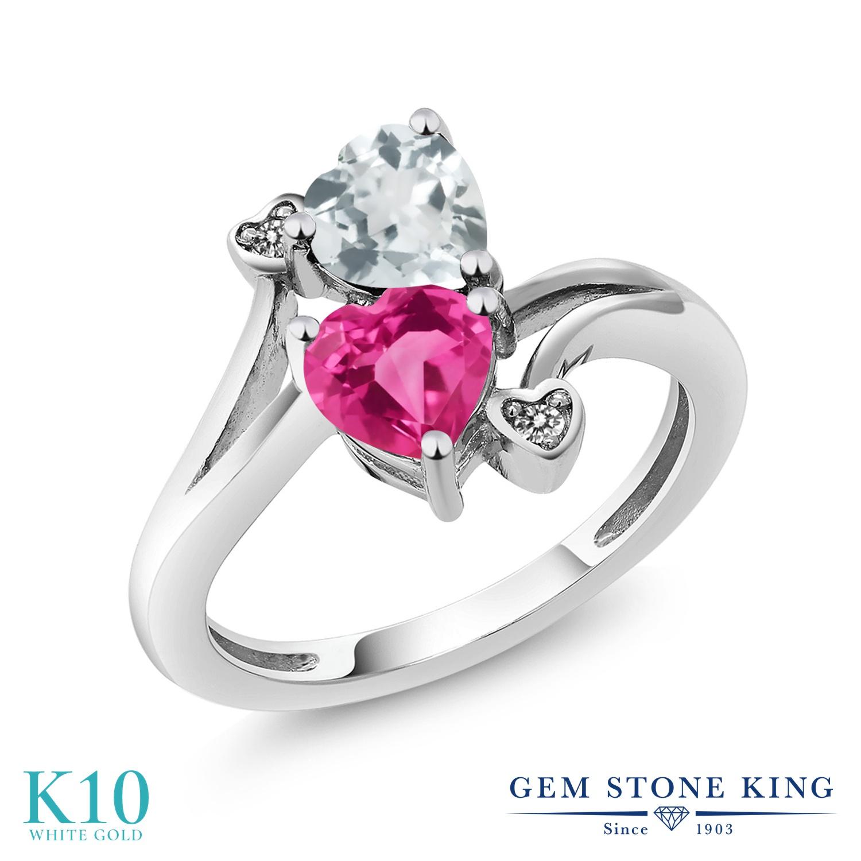 Gem Stone King 1.5カラット 天然 アクアマリン 合成ピンクサファイア 天然 ダイヤモンド 10金 ホワイトゴールド(K10) 指輪 リング レディース ダブルストーン 天然石 3月 誕生石 金属アレルギー対応 誕生日プレゼント