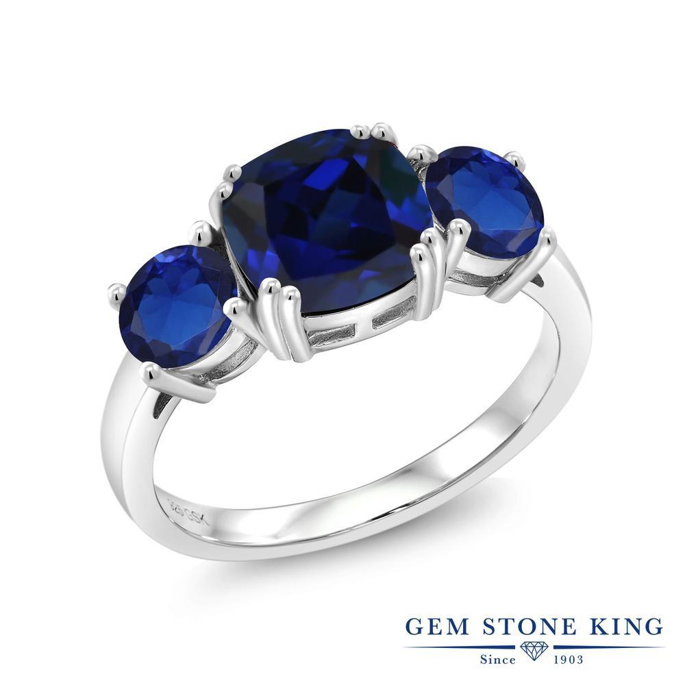 3.7カラット 合成サファイア 指輪 レディース リング シルバー925 ブランド おしゃれ 3連 青 大粒 シンプル スリーストーン 金属アレルギー対応