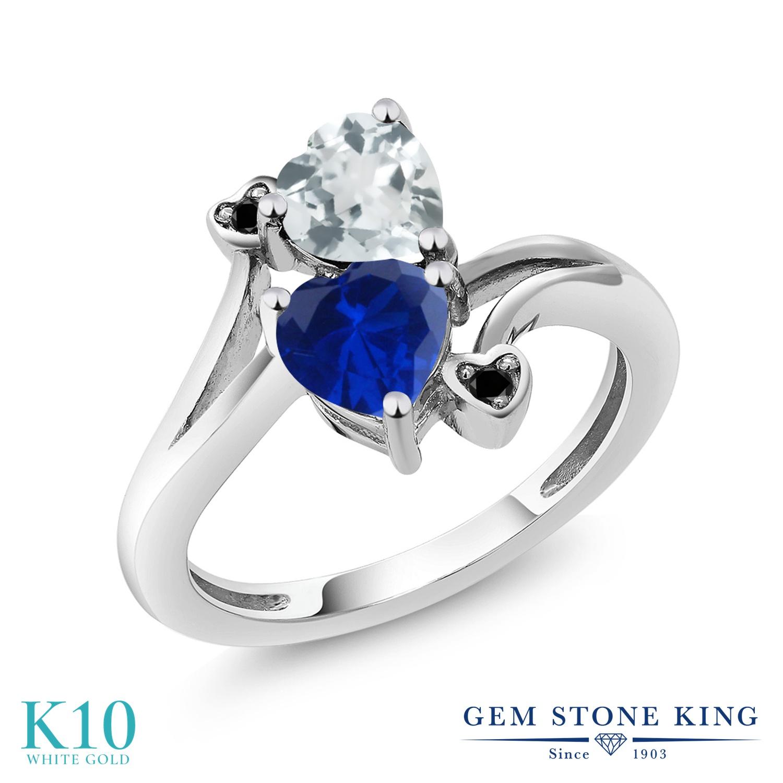 Gem Stone King 1.5カラット 天然 アクアマリン シミュレイテッド サファイア 天然ブラックダイヤモンド 10金 ホワイトゴールド(K10) 指輪 リング レディース ダブルストーン 天然石 3月 誕生石 金属アレルギー対応 誕生日プレゼント
