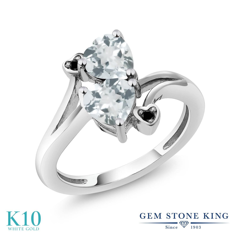 Gem Stone King 1.37カラット 天然 アクアマリン 天然ブラックダイヤモンド 10金 ホワイトゴールド(K10) 指輪 リング レディース ダブルストーン 天然石 3月 誕生石 金属アレルギー対応 誕生日プレゼント