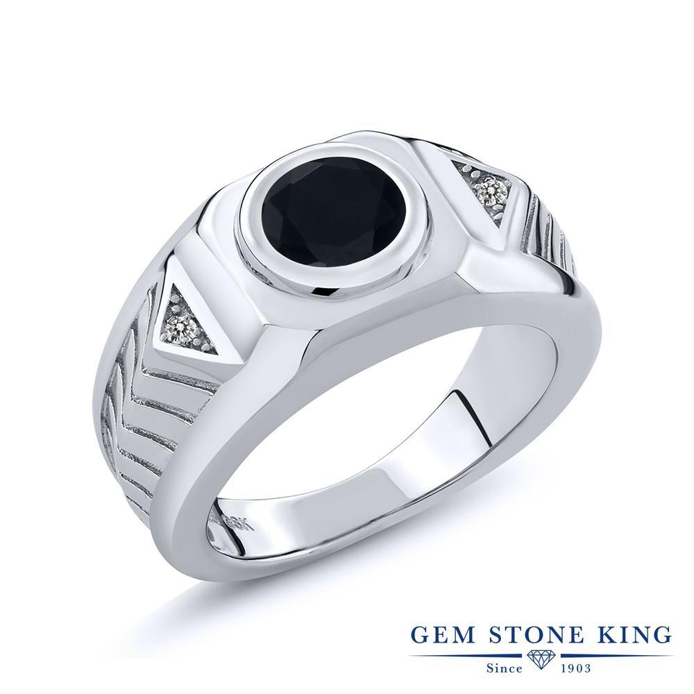 Gem Stone King 1.68カラット 天然 オニキス ダイヤモンド 指輪 リング レディース シルバー925 大粒 シンプル ソリティア 天然石 8月 誕生石 金属アレルギー対応